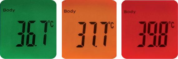 Poziomy temperatury i kolory wyświetlacza